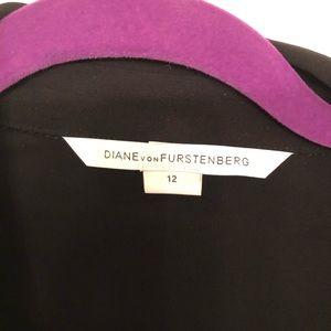 DVF Black Long Sleeve Jersey Wrap Dress